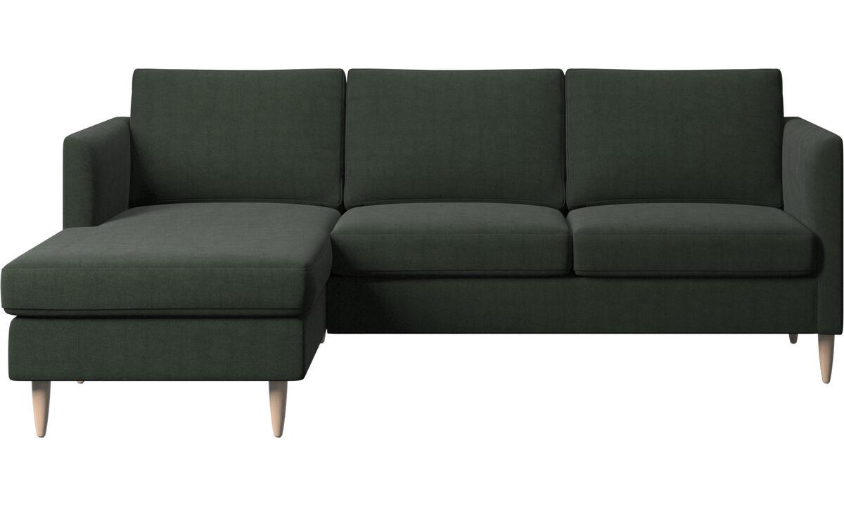 Sofás com chaise - Sofá Indivi chaise-longue - Verde - Tecido