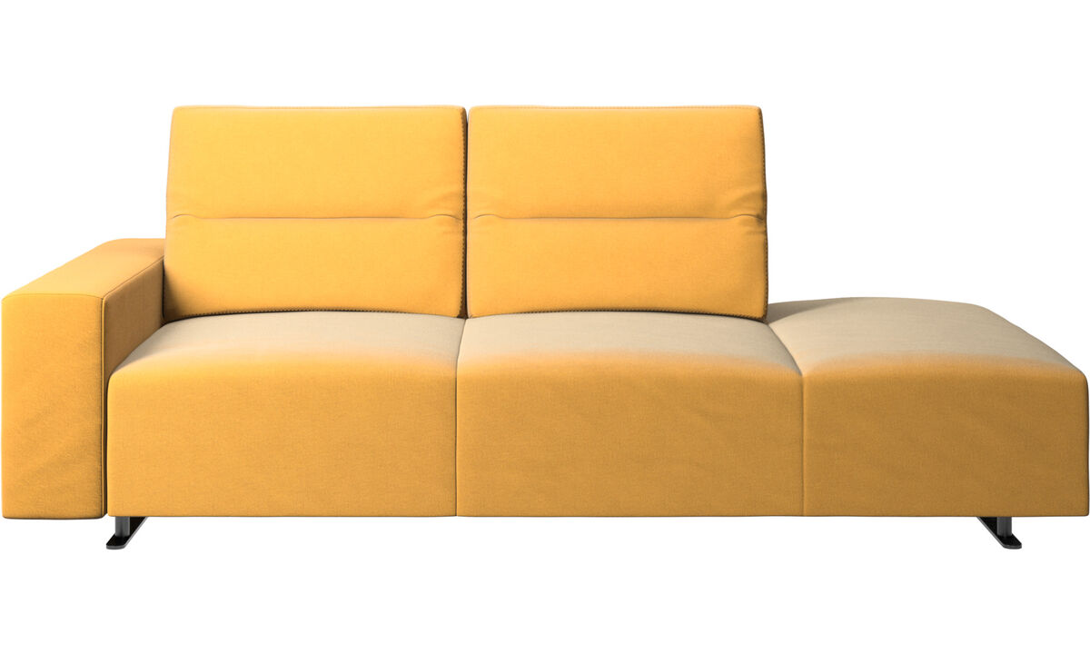 Sofas with open end - Hampton sofa with adjustable back and lounging unit right side, storage and armrest left side - Yellow - Fabric