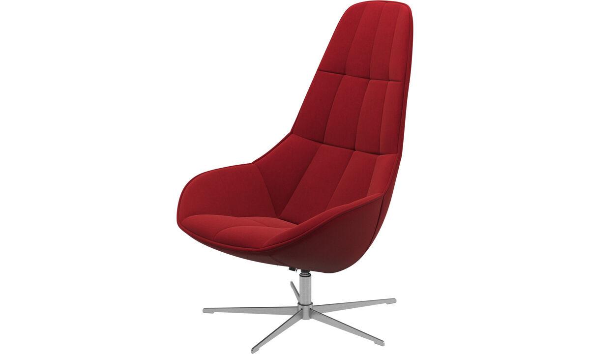 Lænestole - Boston stol med drejefunktion. Fås også med vippefunktion - Rød - Stof
