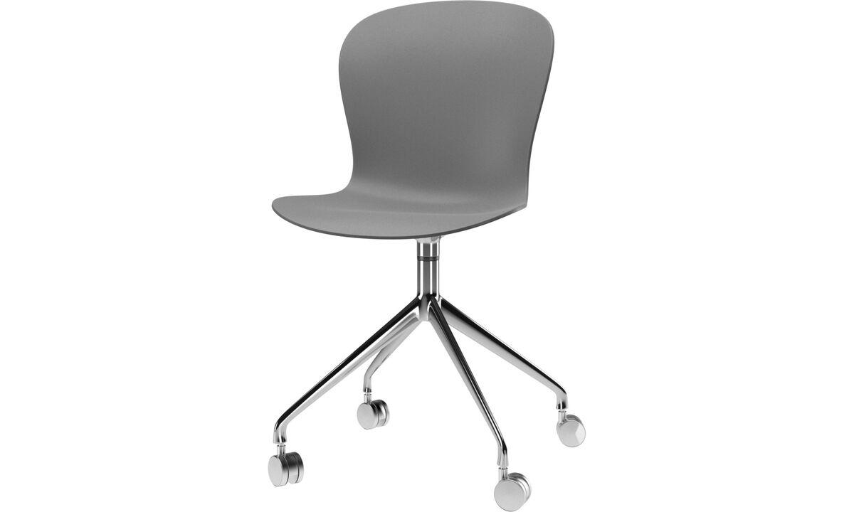 Sillas para la oficina en casa - Silla Adelaide con función giratoria y ruedas - En gris - De metal