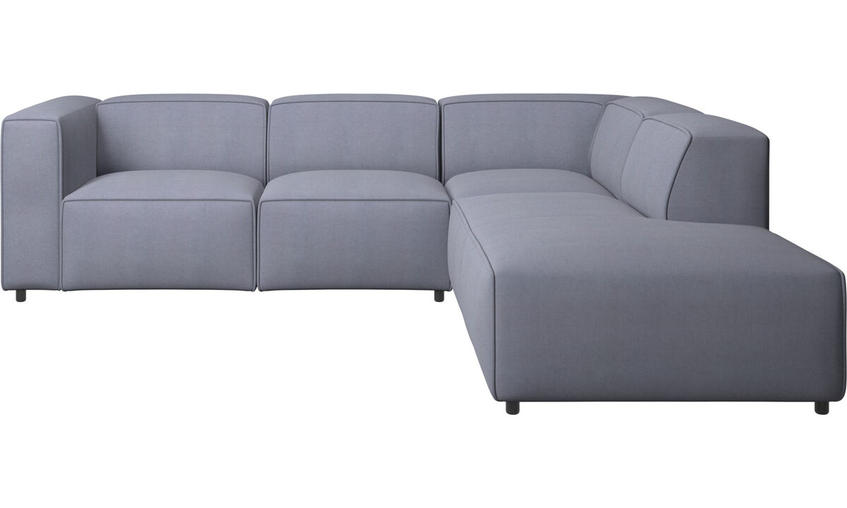 Sofás reclinables - Sofá esquinero Carmo con movimiento - En azul - Tela
