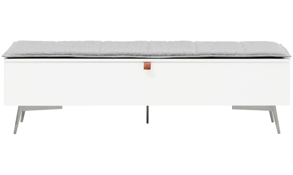 Benches - Lugano bench with storage - Grey - Fabric