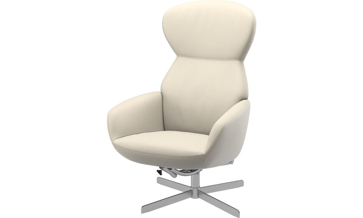 Butacas reclinables - Butaca Athena con respaldo reclinable y base giratoria - Blanco - Piel