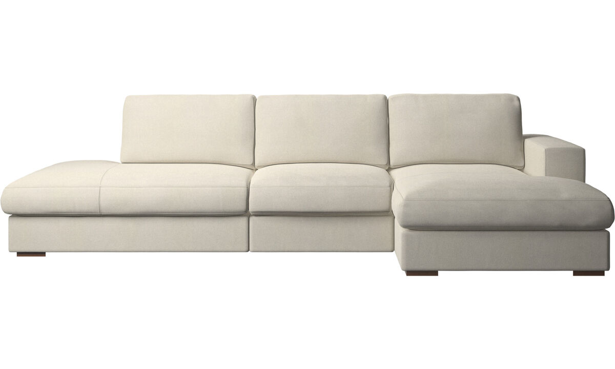 Sofas with open end - Cenova sofa with lounging and resting unit - White - Fabric