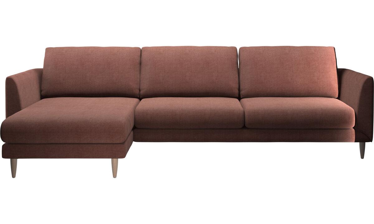 Sofás con chaise longue - sofá Fargo con módulo chaise-longue - Rojo - Tela