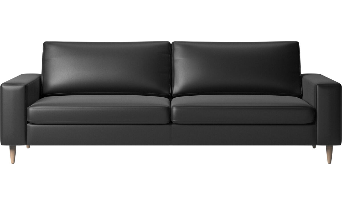 3 seater sofas - Indivi 2 sofa - Black - Leather