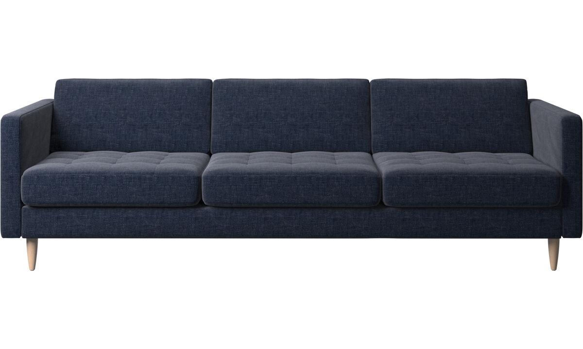 Canapés 3 places - canapé Osaka, assise capitonnée - Bleu - Tissu