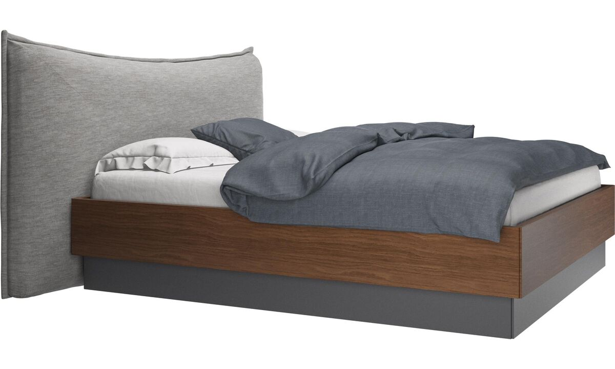 New beds - Gent storage bed with lift-up frame and slats, excl. mattress - Grey - Fabric