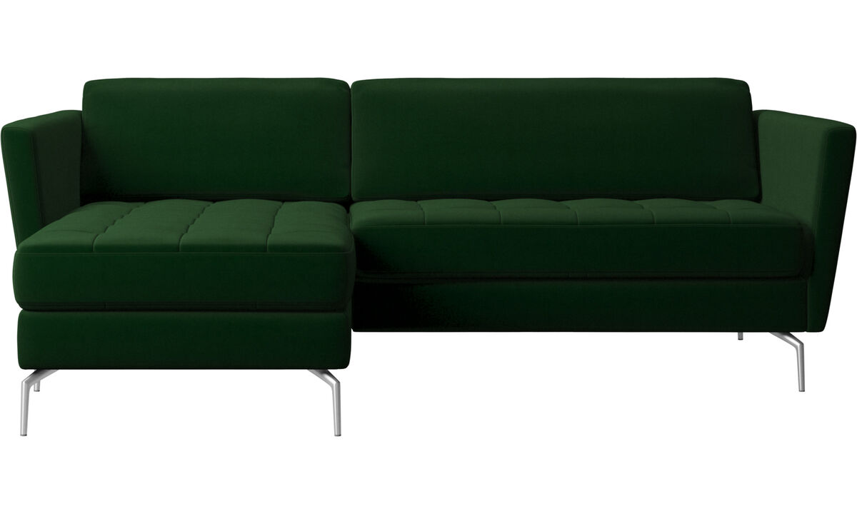 Osaka sofa with resting unit, tufted seat - Green - Fabric