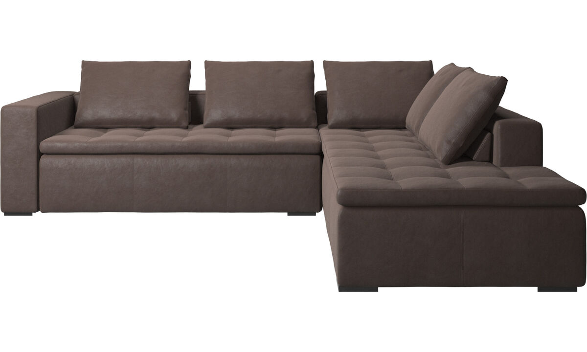 Sofas with open end - Mezzo corner sofa with lounging unit - Brown - Leather