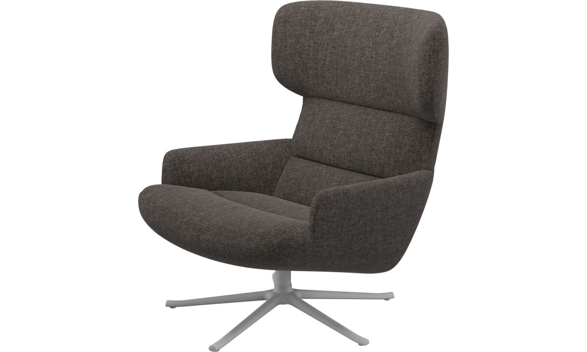 Armchairs - Trento chair with swivel function - Brown - Fabric