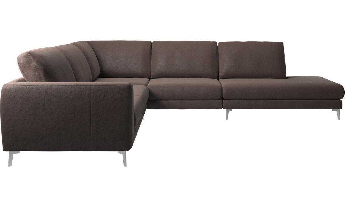 Sofás de canto - sofá de canto Fargo com módulo de descanso - Castanho - Pele