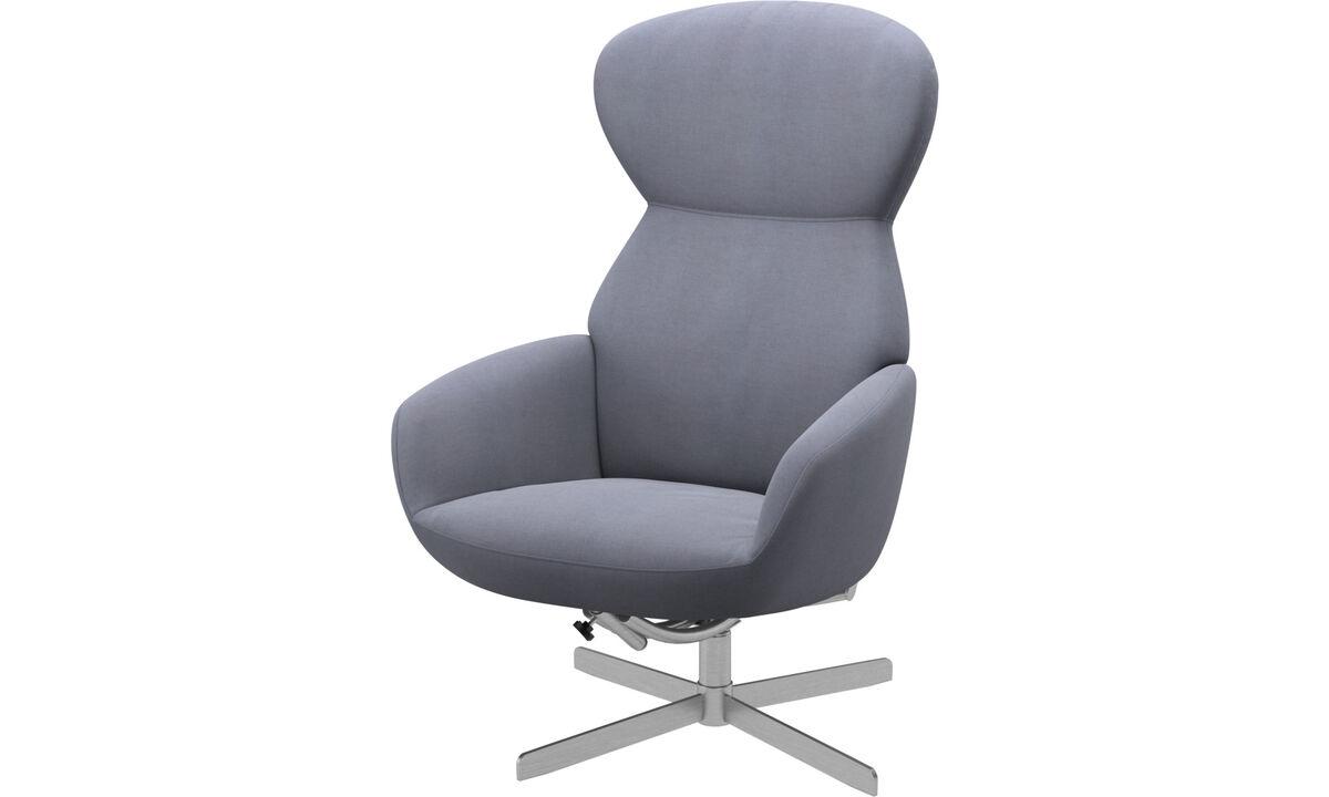 Butacas reclinables - Butaca Athena con respaldo reclinable y base giratoria - En azul - Tela