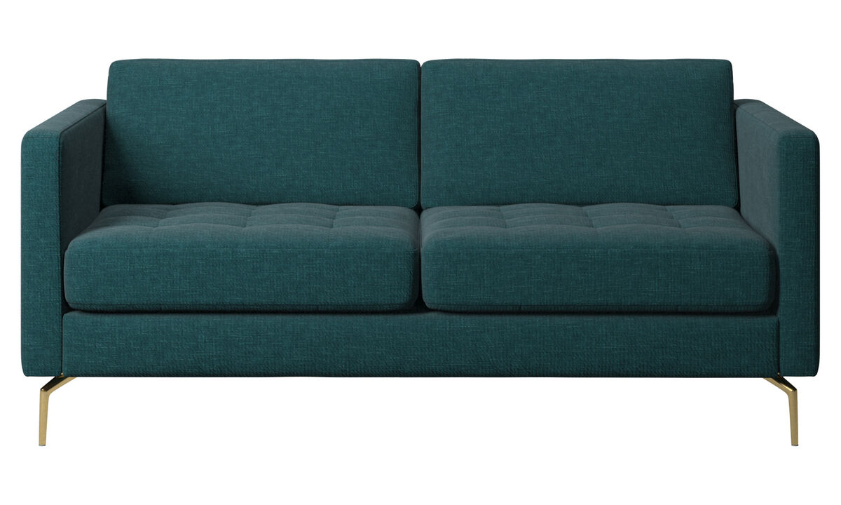 2-sitzer Sofas - Osaka Sofa, getuftete Sitzfläche - Blau - Stoff