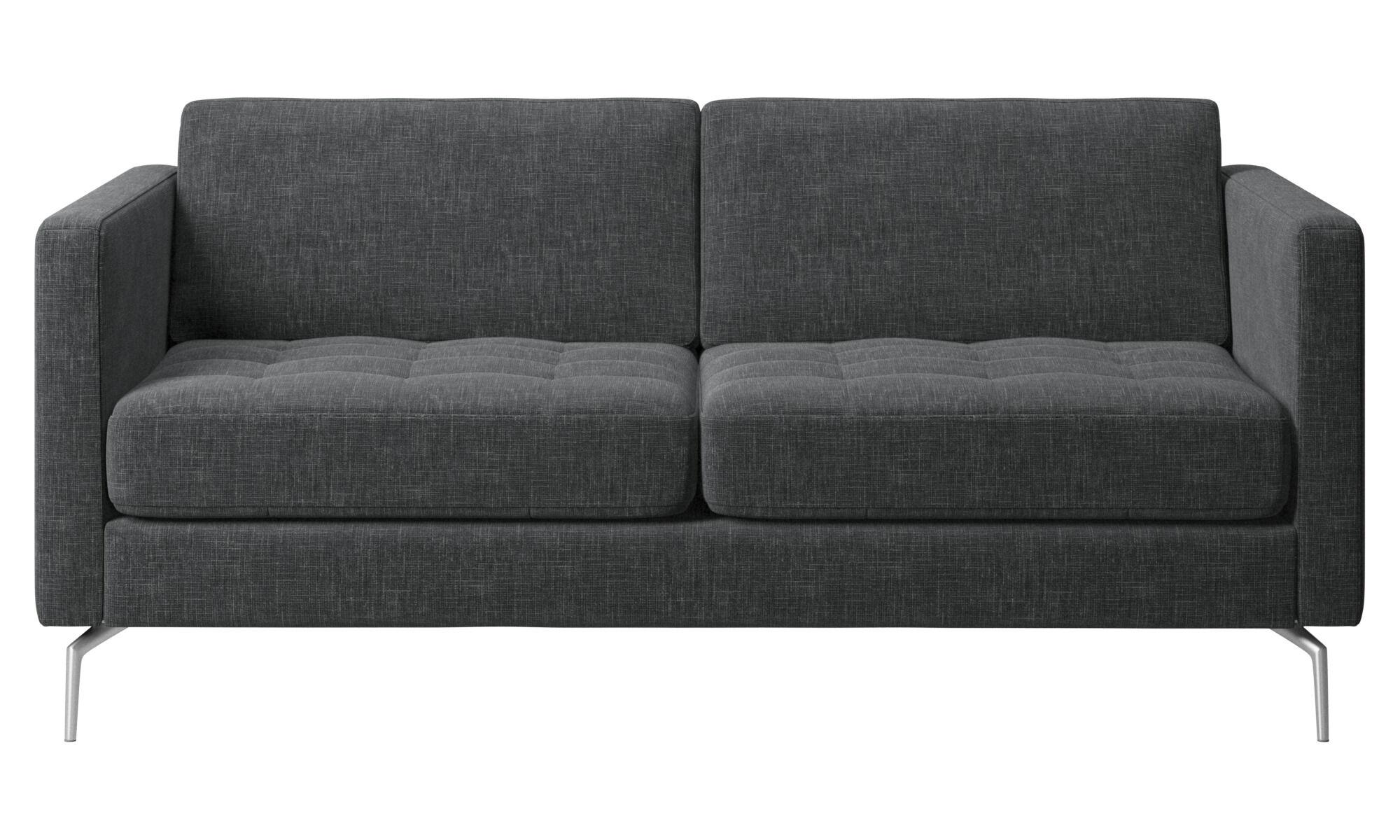 2 Seater Sofas   Osaka Sofa, Tufted Seat   Gray   Fabric