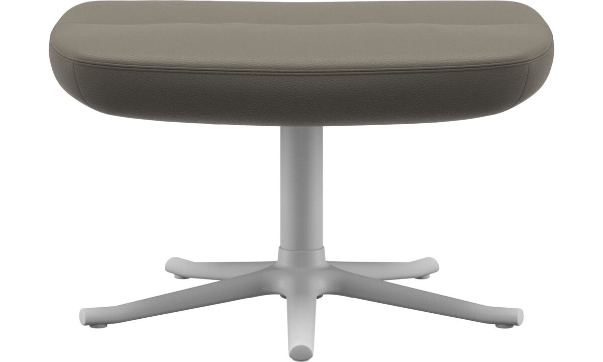 Footstools - Trento footstool - Grey - Leather