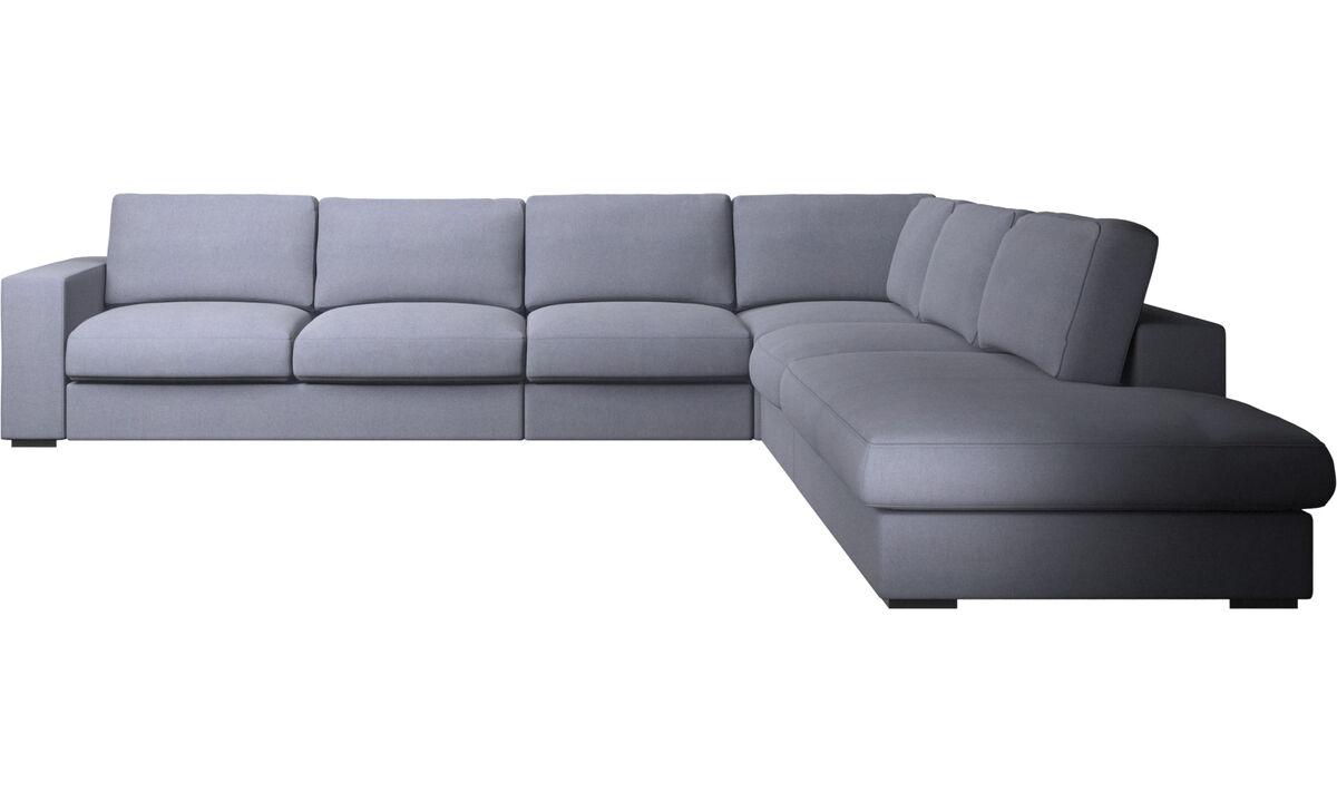 Corner sofas - Cenova corner sofa with lounging unit - Blue - Fabric