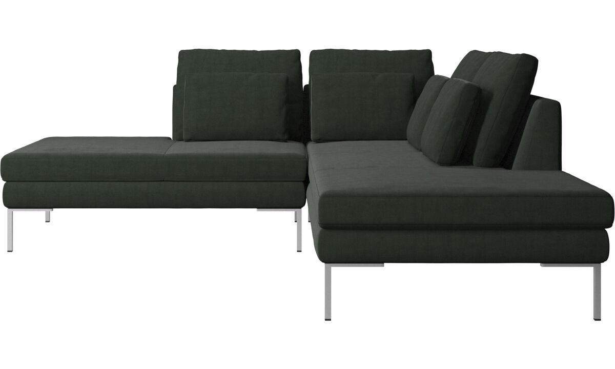 Sofás con lado abierto - Sofá Istra 2 con módulo de descanso - En verde - Tela