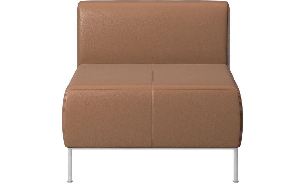Armchairs - Miami seat with back - Brown - Leather