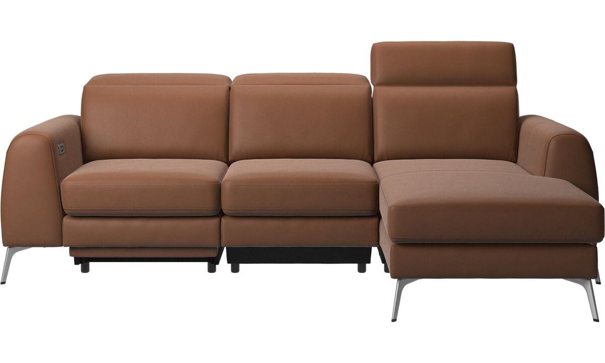 新しいデザイン - Madison ソファ、レスティングユニット、電動シート、ヘッド/フットレスト付き(充電式リチウム電池内蔵) - ブラウン - レザー