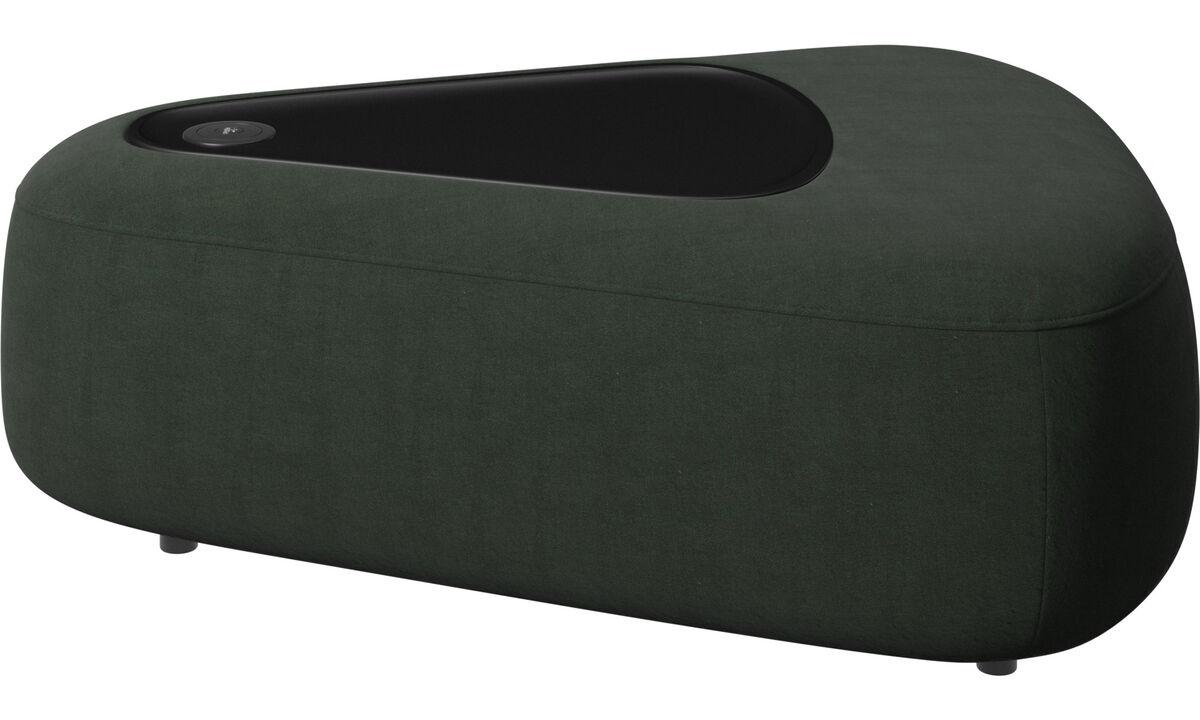 Sofás modulares - puff Ottawa triangular com bandeja - Verde - Tecido