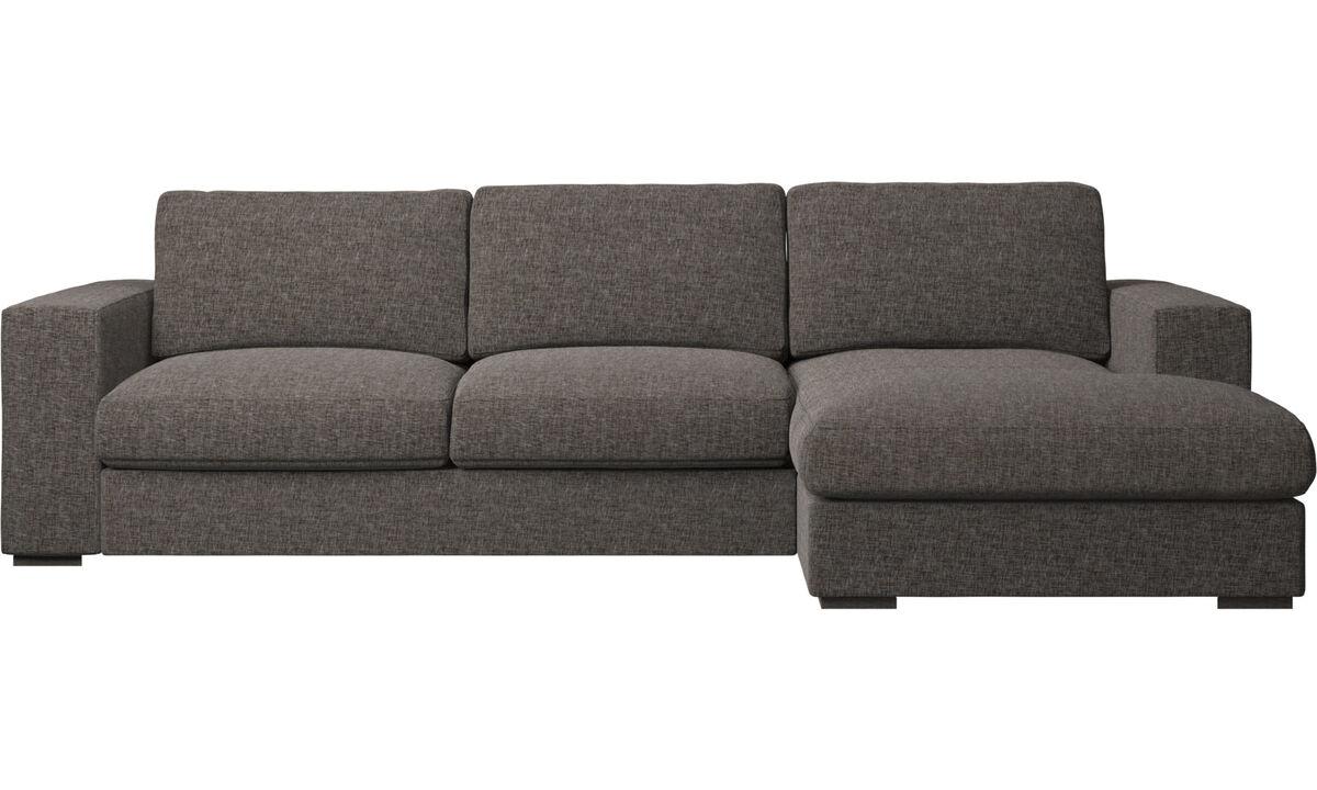 Sofás con chaise longue - Sofá Cenova con módulo chaise-longue - En marrón - Tela