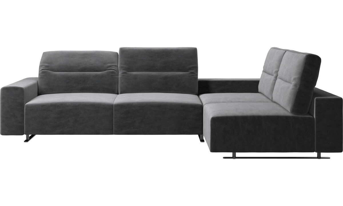 New designs - Hampton corner sofa with adjustable back and storage on left side - Gray - Fabric