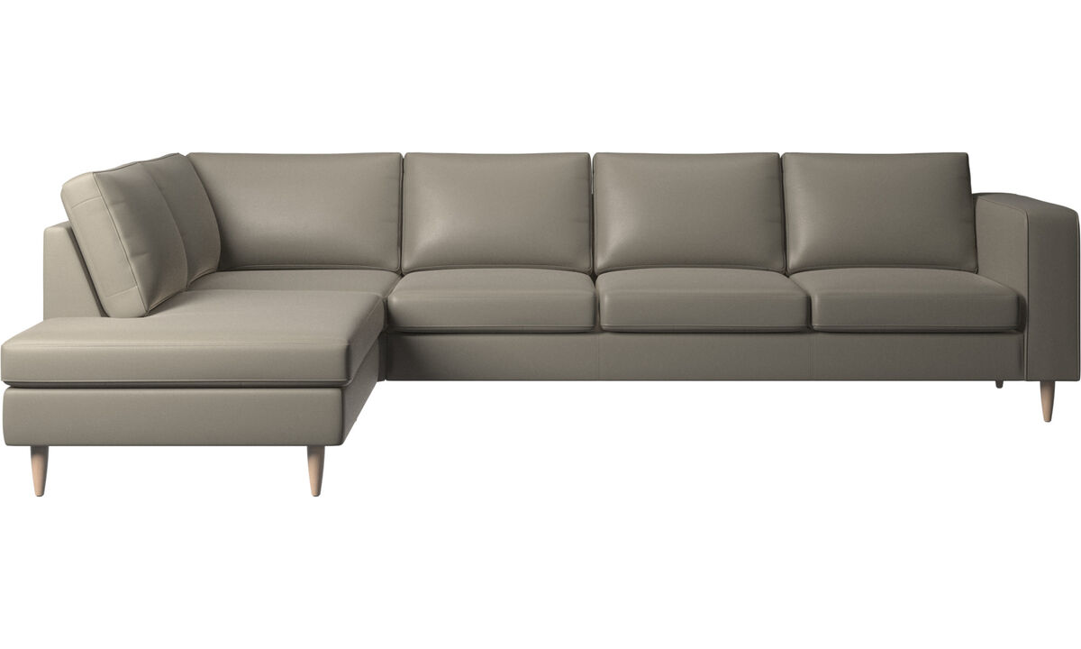 Sofas with open end - Indivi corner sofa with lounging unit - Grey - Leather