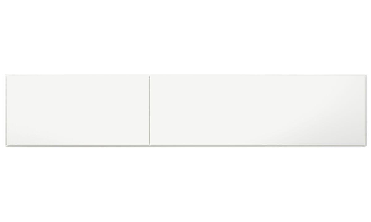 Sistemas de pared - Gabinete de pared Lugano con puertas abatibles hacia arriba - Blanco - Laca