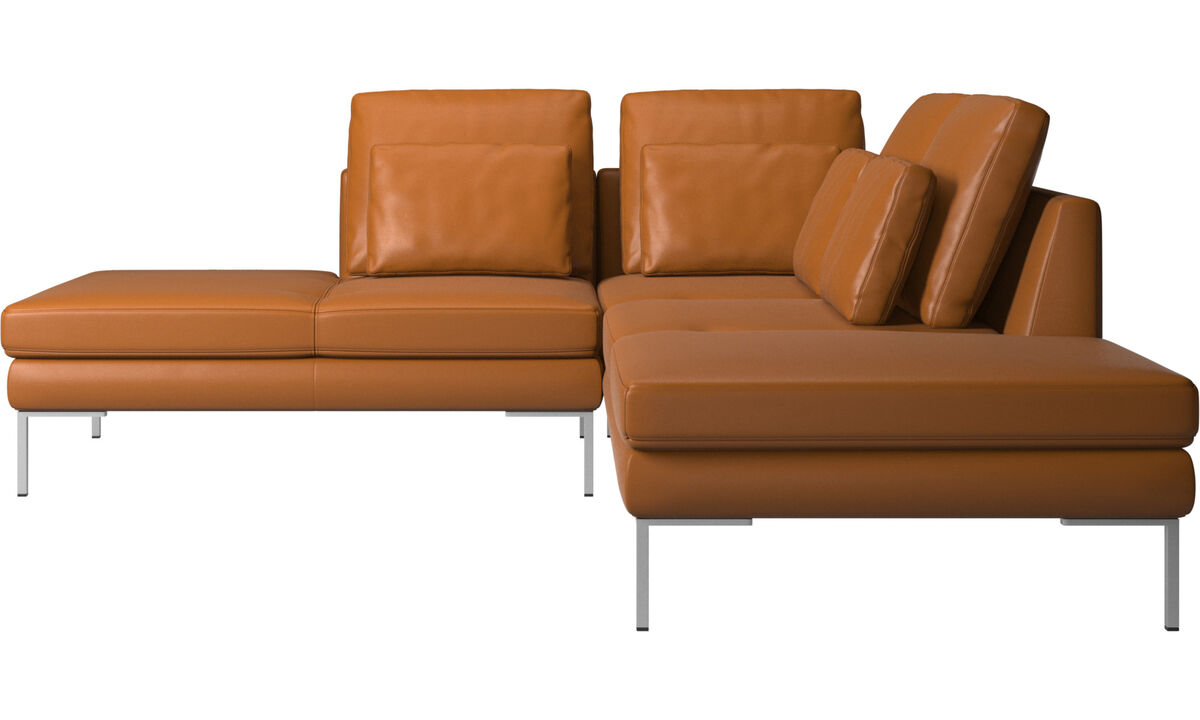 Sofás con lado abierto - Sofá Istra 2 con módulo de descanso - En marrón - Piel