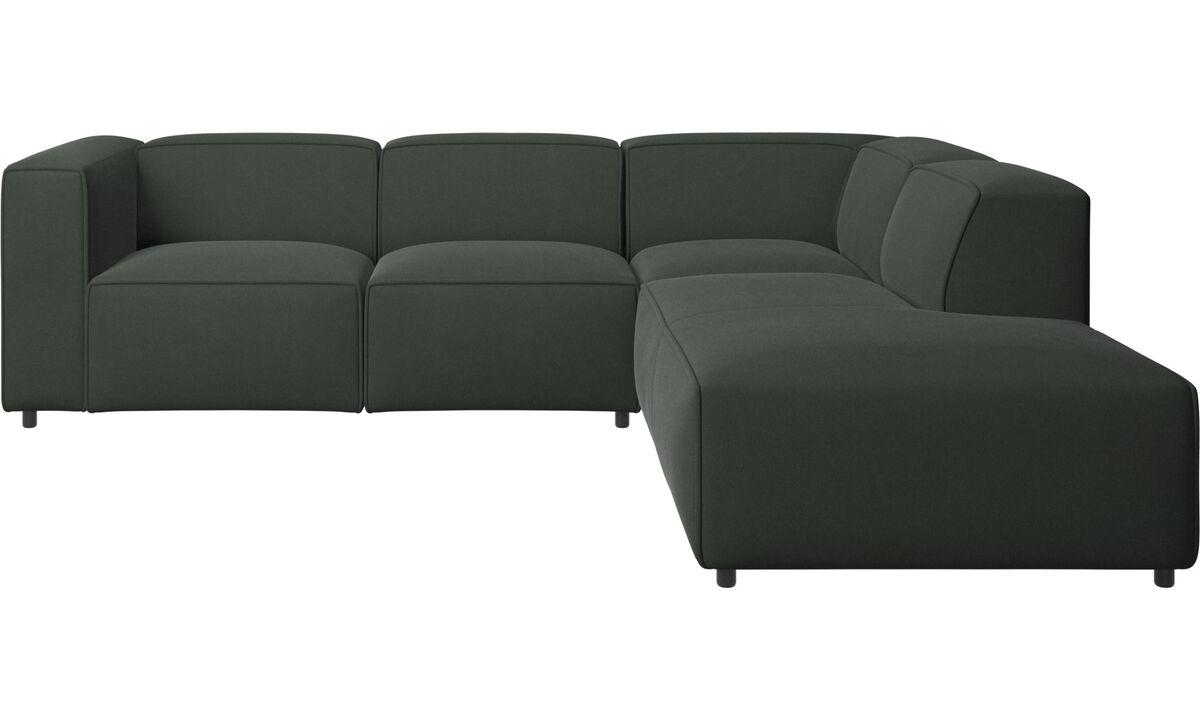 Sofás con chaise longue - Sofá esquinero Carmo con movimiento - En verde - Tela