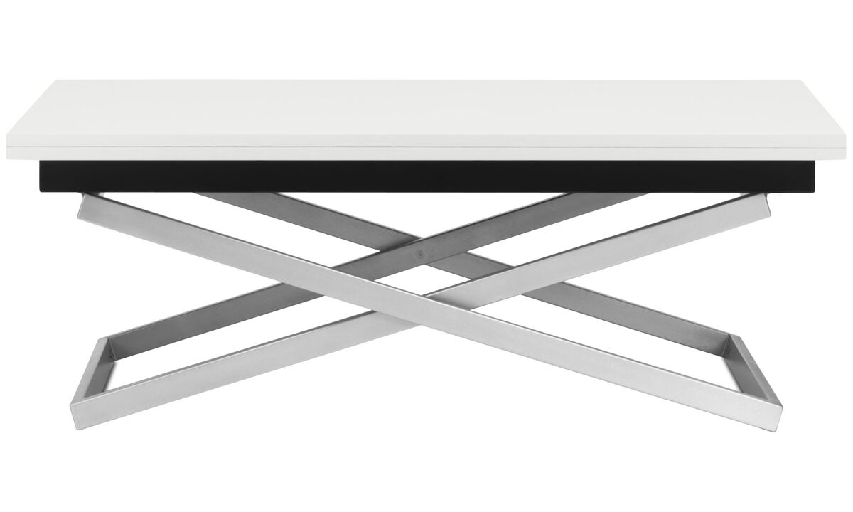 Coffee tables - Rubi adjustable table (height and size can be adjusted) - square - White - Lacquered