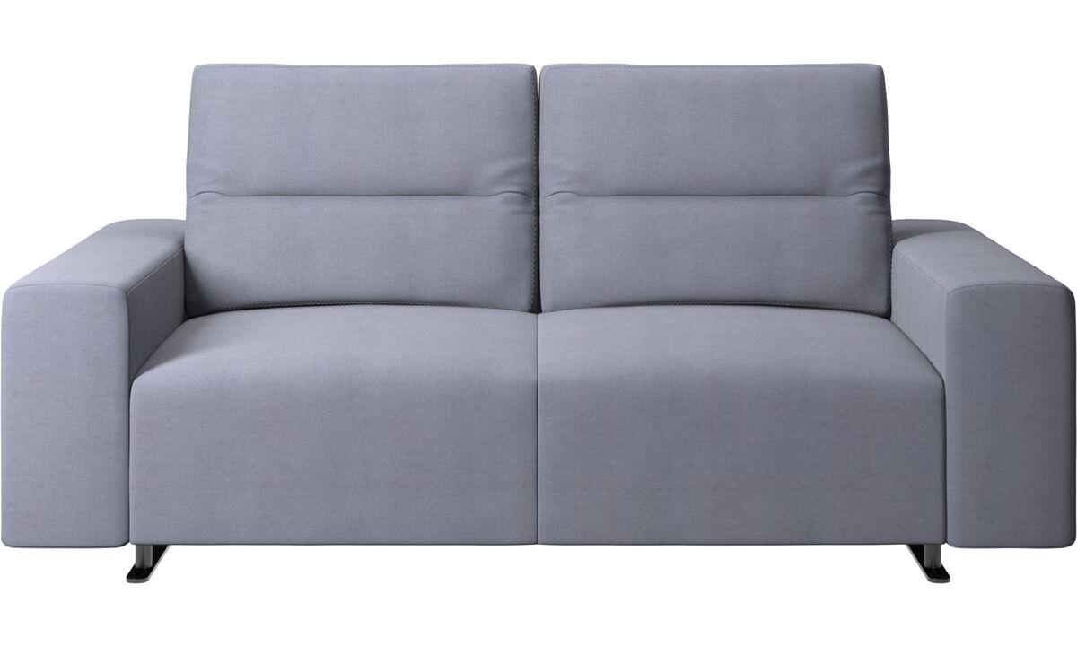 Sofás de 2 plazas - Sofá Hampton con respaldo ajustable y almacenamiento en lado derecho - En azul - Tela