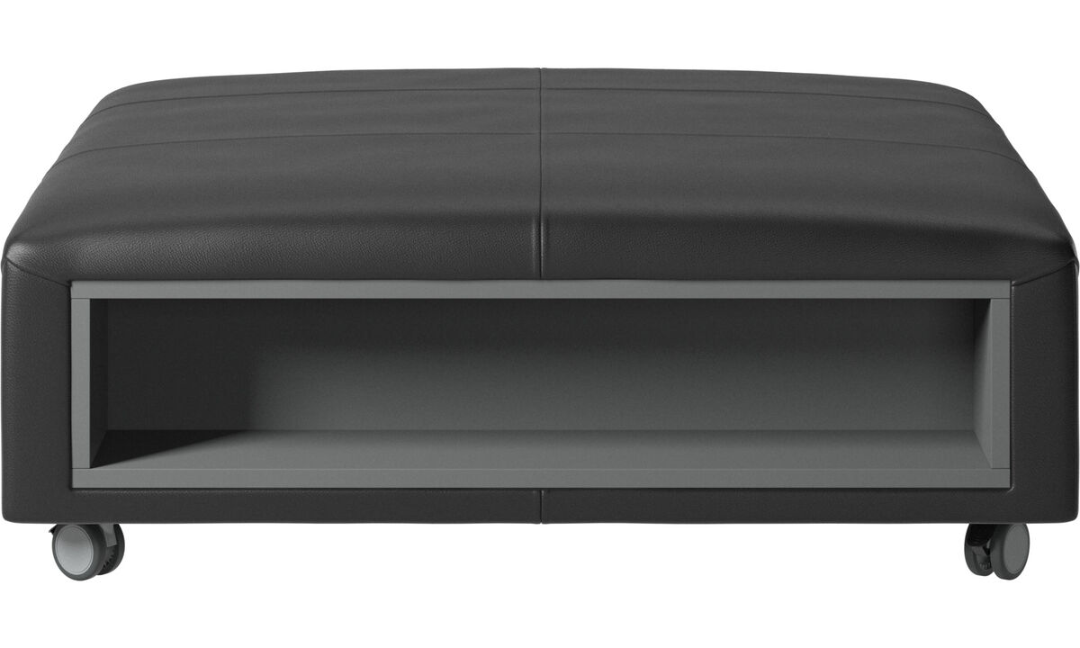 Footstools - Hampton footstool on wheels with storage left and right sides - Black - Leather