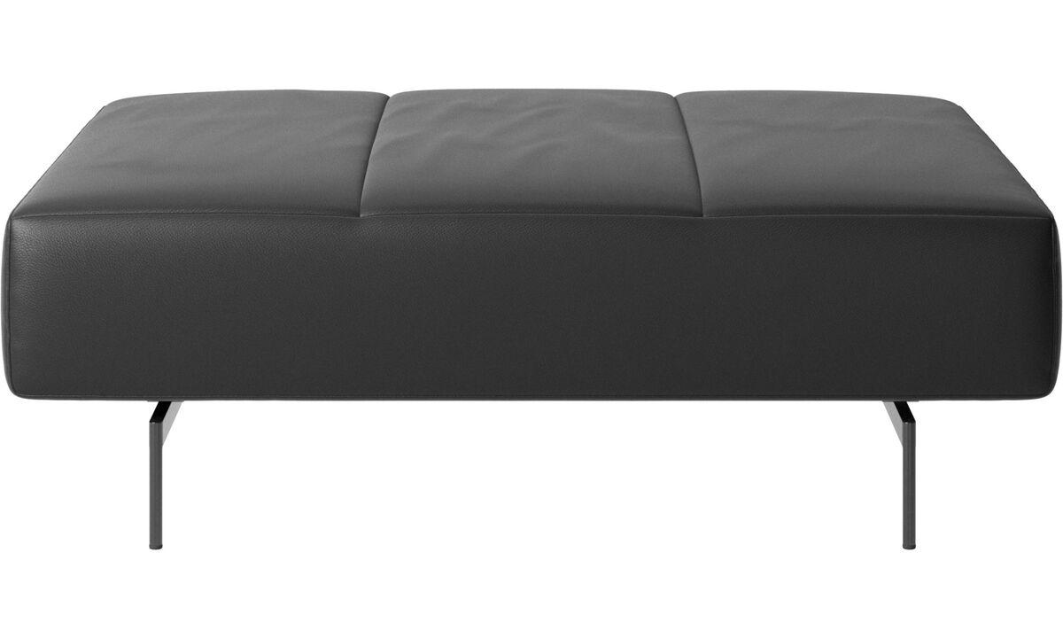 Footstools - Amsterdam footstool - Black - Leather