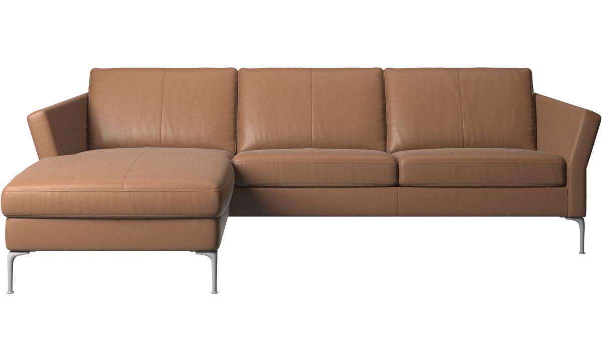 Sofás con chaise longue - sofá Marseille con módulo chaise-longue - En marrón - Piel