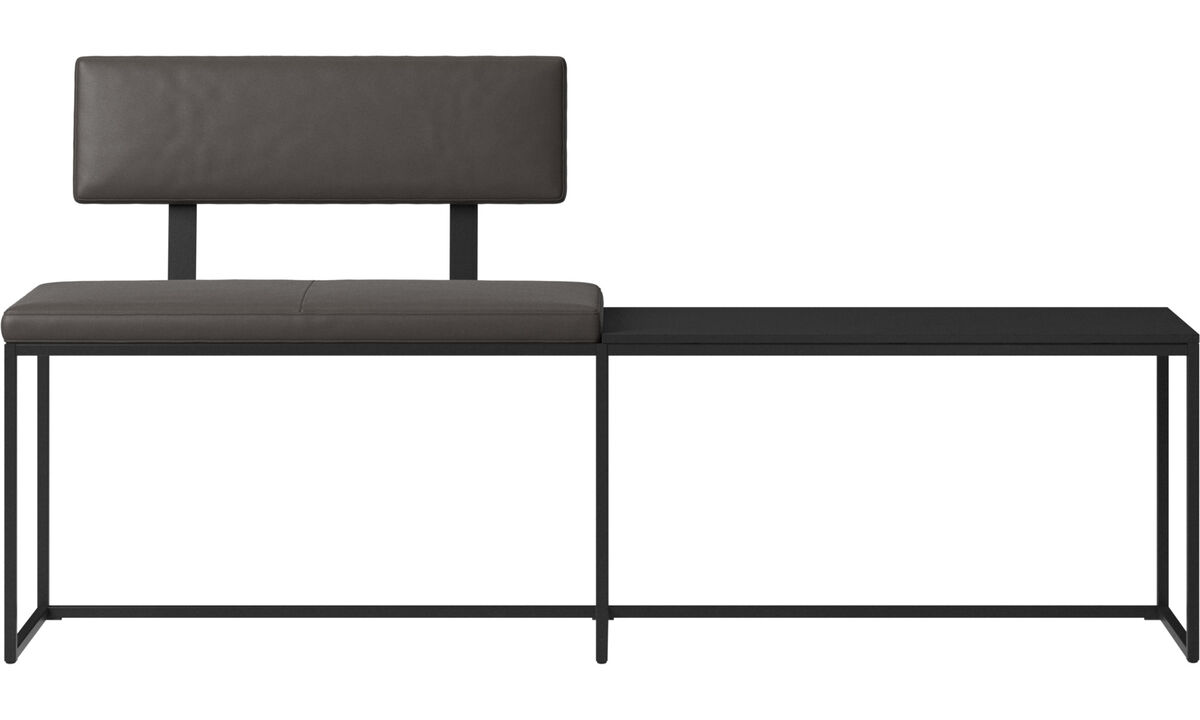 Benches - London large bench with cushion, shelf and backrest - Brown - Leather
