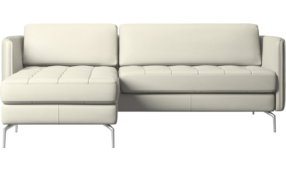 Chaise lounge sofas - Osaka sofa with resting unit, tufted seat - Beige - Leather