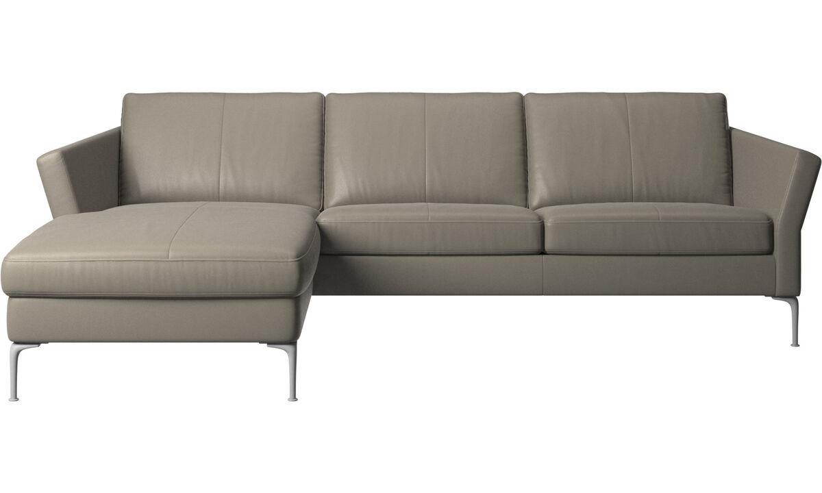 Sofás con chaise longue - Sofá Marseille con módulo chaise-longue - En gris - Piel