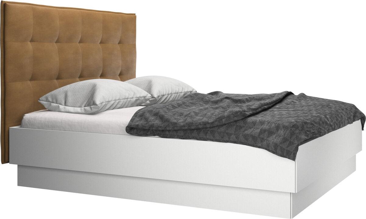 新款床 - Lugano 带上拉式床框和床板的储物床, 不含床垫 - 褐色 - 革