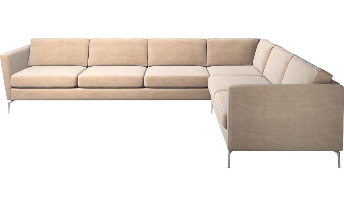 Canapés d'angle - canapé d'angle Osaka, assise classique - Beige - Tissu