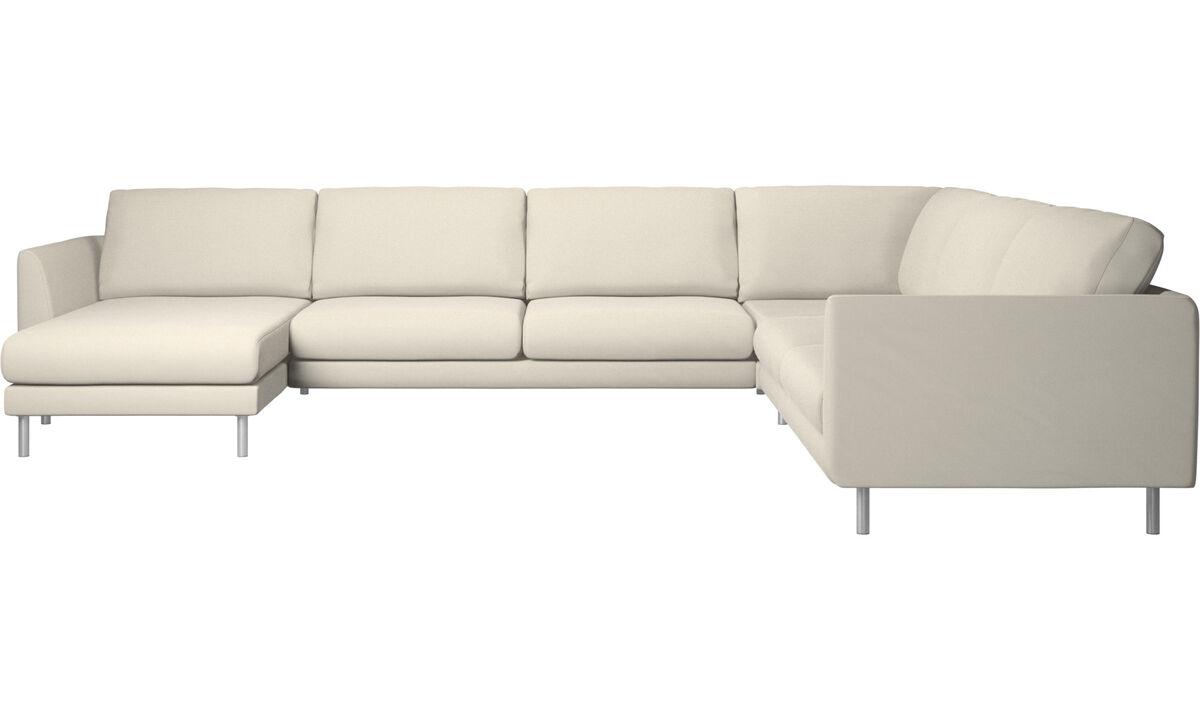 Canapés d'angle - canapé d'angle Fargo avec méridienne - Blanc - Tissu