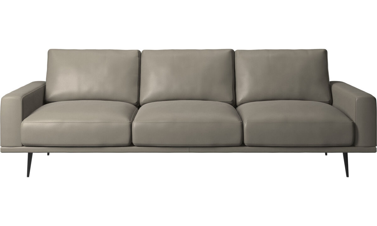 Sofás de 3 plazas - sofá Carlton - En gris - Piel