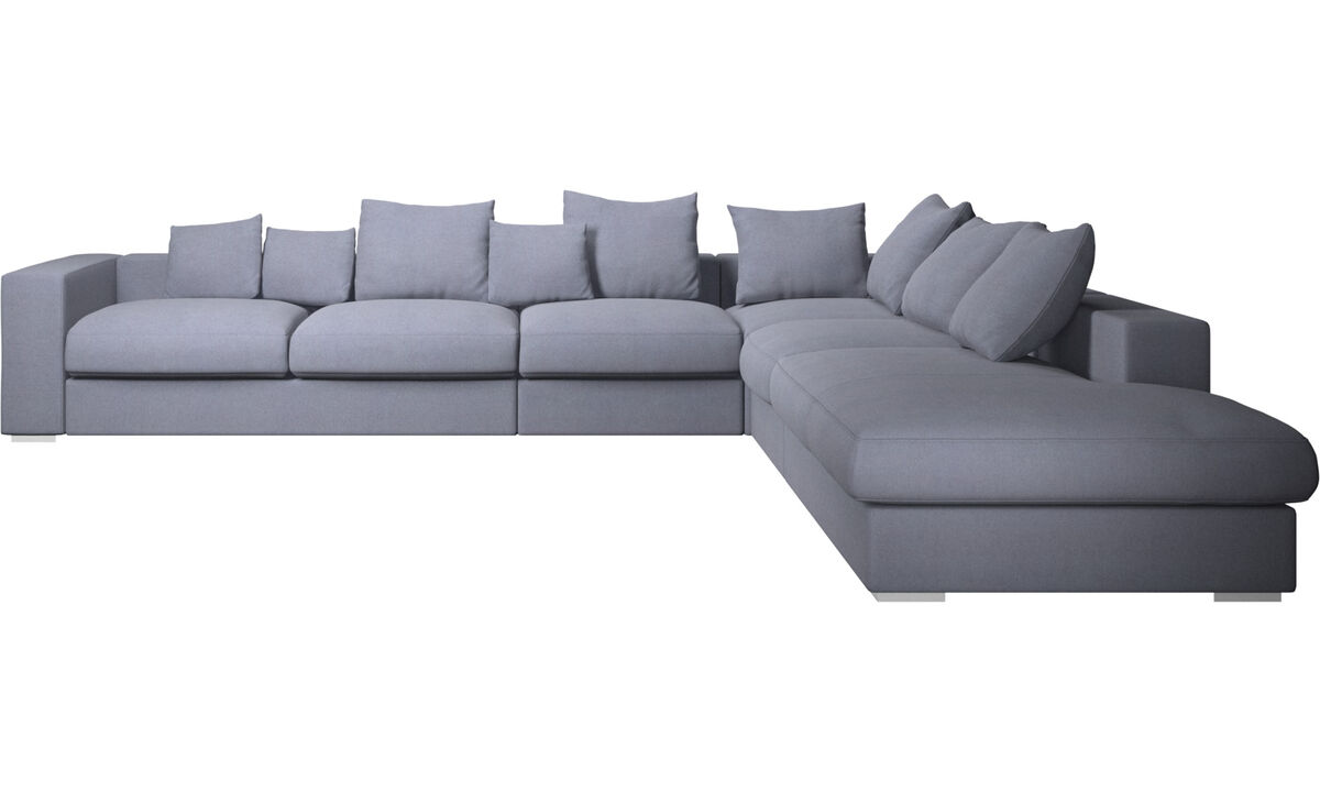 Sofas with open end - Cenova corner sofa with lounging unit - Blue - Fabric