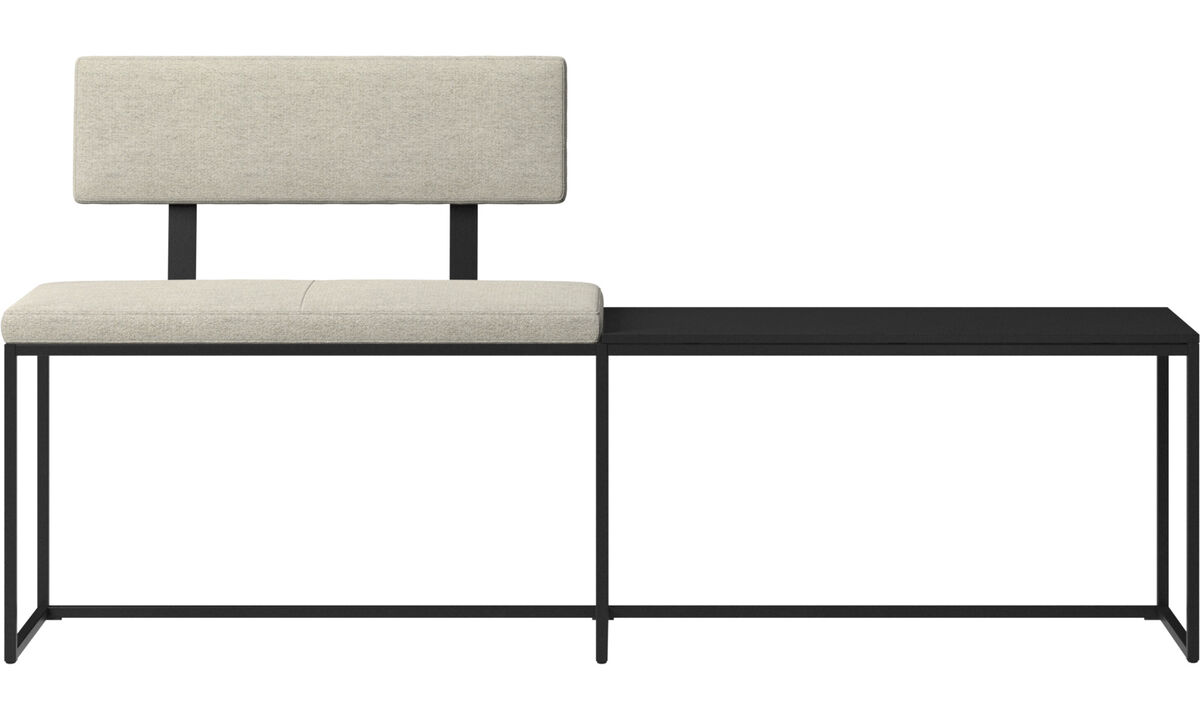 Benches - London large bench with cushion, shelf and backrest - Beige - Fabric