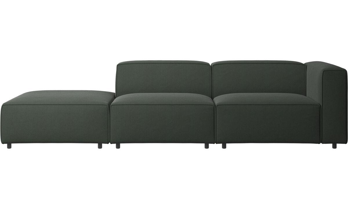 Sofás de 2 plazas - sofá Carmo con módulo de descanso - En verde - Tela