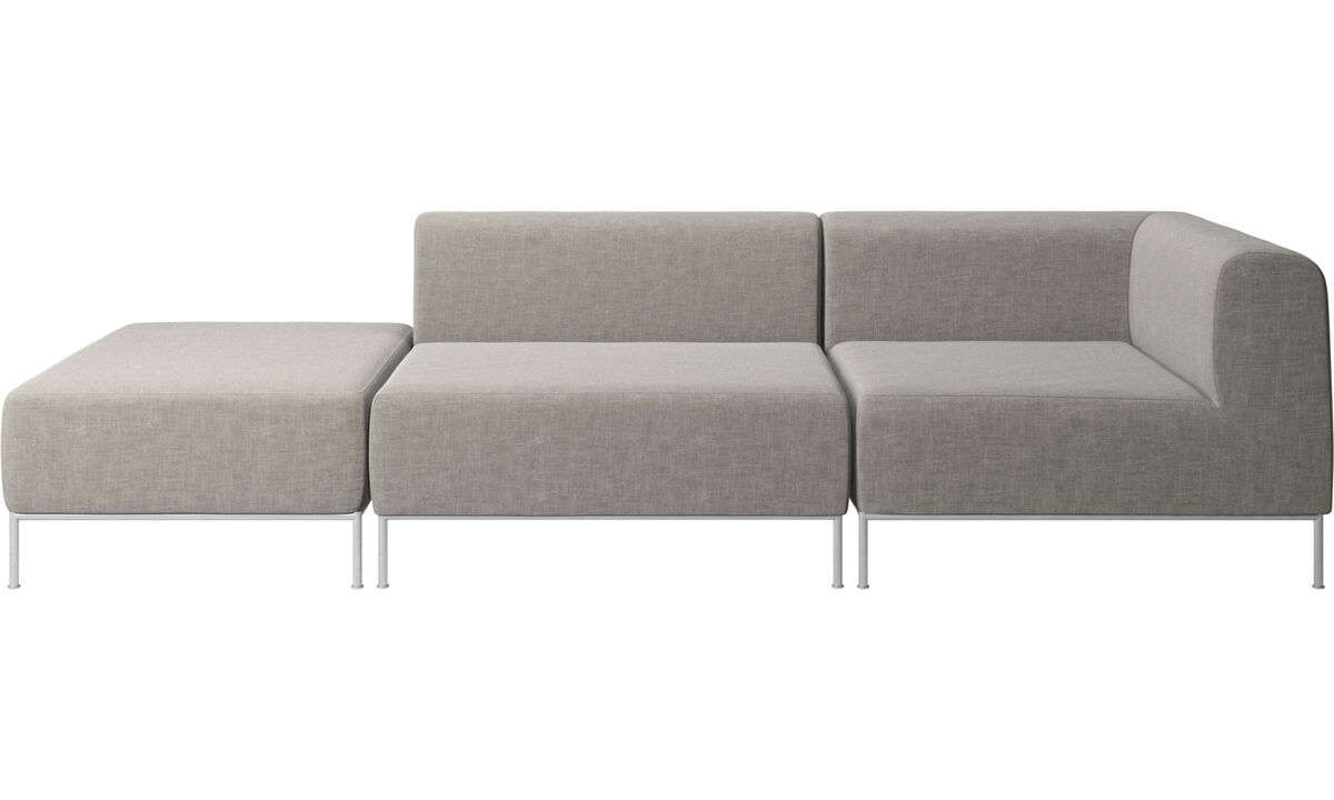 Modular sofas - Miami sofa with footstool on left side - Grey - Fabric
