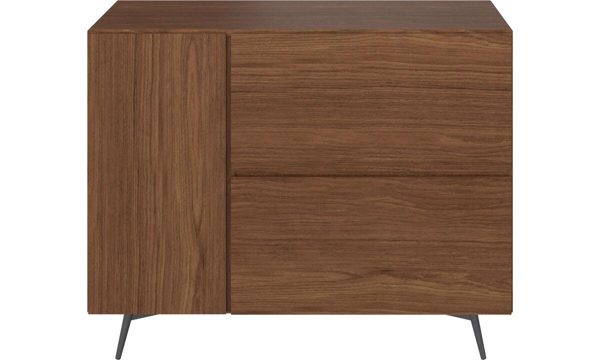 Aparadores - módulo de parede Lugano com gavetas - Marrom - Nogueira