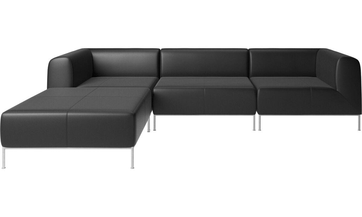 Modular sofas - Miami corner sofa with footstool on left side - Black - Leather