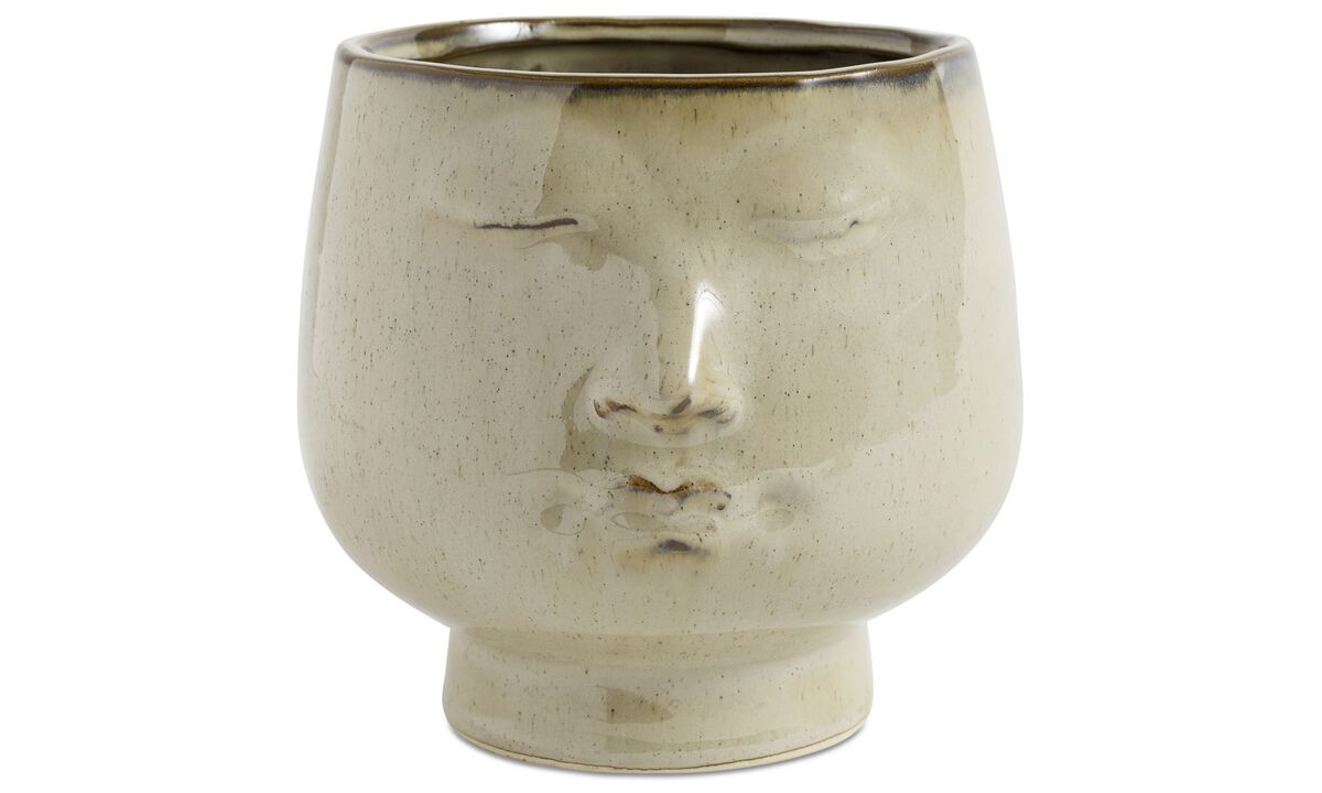 New designs - Face flower pot - Beige - Ceramic